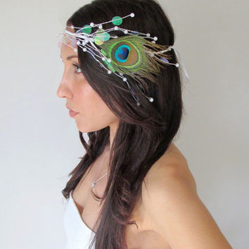 Peacock Diamant  Peacock Headband Tiara Crown Opal by deLoop