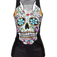 Women Floral sugar skull tank top