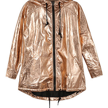Golden Metallic Hooded Drawstring Hem Zipper Up Coat