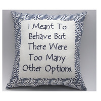 Funny Cross Stitch Pillow. Funny Quote, Navy Blue Pillow, Behave Quote