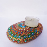 Mandala tea light Artisan stone Painted stone Bohemian decor Stone candle holder