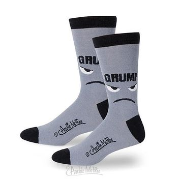 Grump Face Men's Socks in Grey and Black