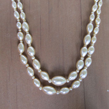 1940s-50s Double Stranded Faux Pearl Necklace