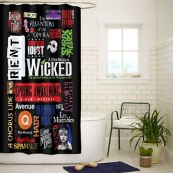Broadway Musical Collage Art High Quality Custom Shower Curtain 60 x 72 Inch