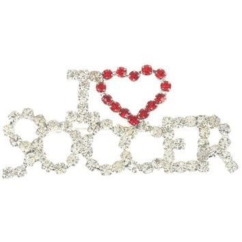 Clear I Heart Soccer Rhinestone Metal Pin And Brooch