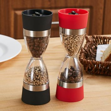 2 in 1 Dual Manual Salt Pepper Mill Hourglass Shape Spice Grinder Pepper Shaker Kitchen Gadgets Cooking Tools Easy to Clean