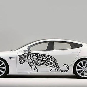 CAR SIDE VINYL DECAL ART STICKER GRAPHICS ANIMALS LEOPARD JK95