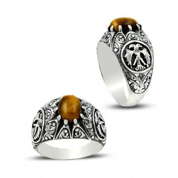 Tiger`s eye gemstone with eagle silver mens ring