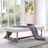 Oppland White Upholstered Tufted Gold Bench   Overstock.com Shopping - The Best Deals on Benches