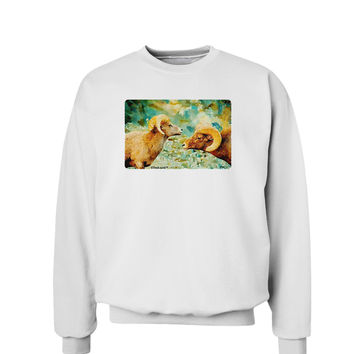 TooLoud Two Bighorn Rams Watercolor Sweatshirt