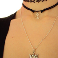 Sun and Moon Necklace Set  ~ Sun Necklace ~ Moon Necklace ~ 90s Fashion Jewelry Set ~ Tattoo Choker ~ 90s Inspired ~ 90s choker