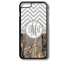 Gray Chevron Brown Camo Monogram iPhone 5S 5C 6/6S and Galaxy Custom Personalized Case Cover