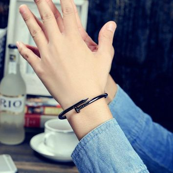 Shiny New Arrival Jewelry Couple Korean Stylish Black Titanium Stainless Steel Ring Bangle [11203374983]