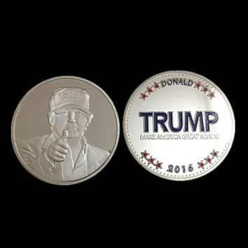 5 pcs/lot, The 2016 New York Candidate Trump silver plated replica souvenir coin