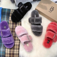 UGG Adjustable buckled wool slippers