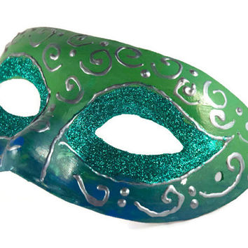 Mardi Gras Mask Emerald green with silver swirls Ombre Mens Venetian Ball Mask: Venetian Mask for men