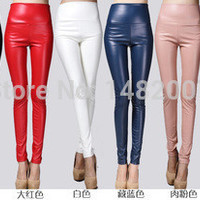 Autumn winter Women clothing skinny PU leather pencil Leggings slim faux Leather Pants female fashion thick fleece trousers M038