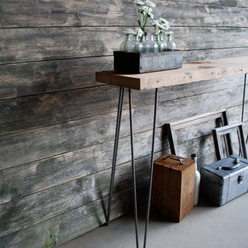 "4ft Reclaimed Wood Console/Sofa Table WITH sliding locker basket. Free & Fast Shipping (4ft  x 11.5""w x30"" h, Standard 1.65"" top)"