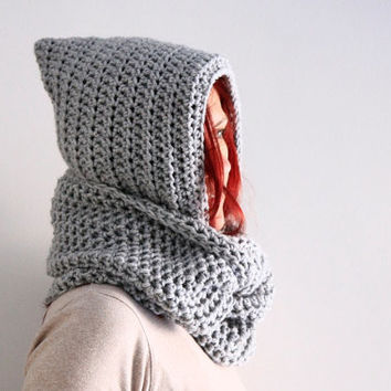 Light grey hooded infinity scarf hood circle cowl, Calypso Hood, winter fashion