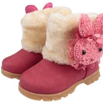 ONETOW Baby Girls Infant Toddler Winter Fur Shoes Snow Boots rabbit for 9-30 months baby = 1931503428