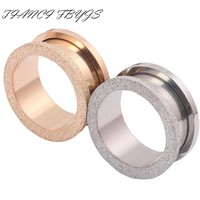 Glitter Rose Gold Silver Ear Plug Screw Ear Plug Tunnel Ear Expander Gauges Body Piercing Jewelry 1 Pair Flesh Tunnel Earring