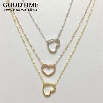 Simple Style Heart Necklace Silver 925 Women Jewelry Real Solid Sterling Silver Jewelry 3 Colors Link Chain & Pendants