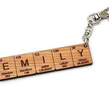 Custom Name Periodic Table Keychain FOB