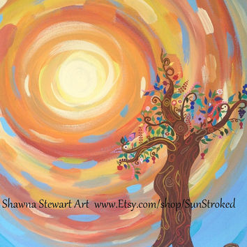 PRINT, A Solstice Celebration, She Dances, abstract acrylic energy painting, tree of life, tree spirit, Shawna Stewart art, Free shipping