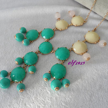 Classic Big Size Bubble necklace, Bib necklace, Statement Necklace, best for dinner, Brilliant-cut, White and Blue(b210)