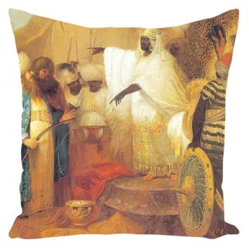 AN ETHIOPIAN KING WELCOMING ENVOYS FROM PERSIA - Throw Pillows