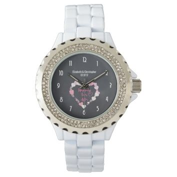 Happily Ever After Glittery Pink Hearts Wedding Watches