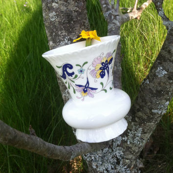 Thistle Shaped Floral Vase Coalport Pageant Floral Pattern Bud Posy Collectible 1970s English Bone China Lavender Aqua Blue Yellow Vase