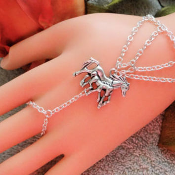 Mom Horse & Foal Infnity Bracelet Ringt, Hand Chain, Body Jewelry, Body Chain, Hand Harness, Infinity Ring, Silver, COuntry, Western, Cowboy