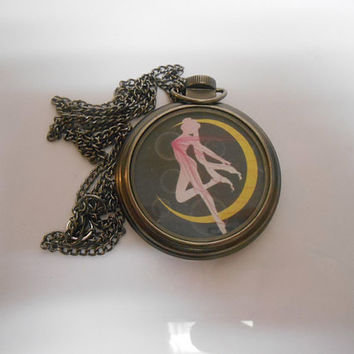 Sailor Moon Vintage Brass Locket Pocket Watch Necklace sale