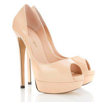 Shoes :'L.A' Nude Peep-Toe Leather High Heeled Pumps