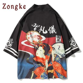Trendy Zongke Japanese Kimono Cardigan Men Japan Geisha Print Long Kimono Cardigan Men Thin Mens Kimono Cardigan Jacket Coat 2018 AT_94_13