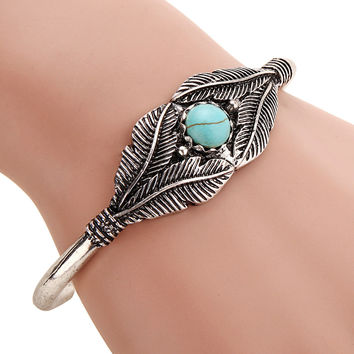 Boho Open Leaf Bracelet Cuff Bangle Indian Native American Jewelry Navajo