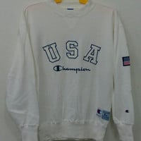 Rare!! Vintage champion big logo USA sweatshirts white colour L Size