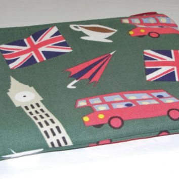 Zipper Pouch for Coins, Knitting Notions, Toiletries, Cosmetics, Handmade with Dear Stella London Calling Green and Double Decker Lining