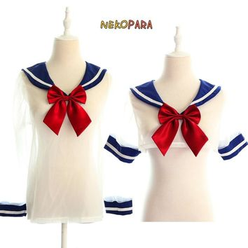 Sexy Transparent Japanese School Uniform Tops Shirt with Big Red Bowtie Sailor Collar Cosplay Short Ver. & Normal Ver.