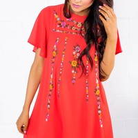 Coral Embroidered Shift Dress