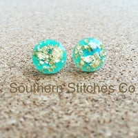 Earrings Mint Gold Leaf Faceted Earrings Stud Earrings 11.5 MM Boho Jewelry Bridesmaids Gifts