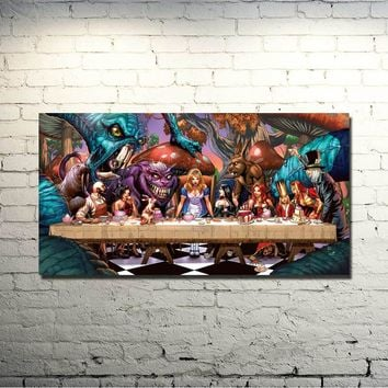 Alice in Wonderland Movie Art Silk Fabric Poster Print 13x26 24x48 inches Cheshire Cat Wall Pictures For Living Room Decor 026