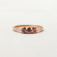 Petite 3-Oval Ring - Rose Gold + Rhodolite