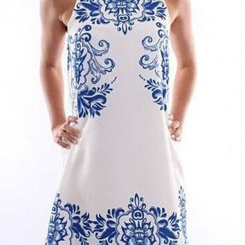 White Ethnic Style Sleeveless Dress