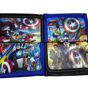 12Pcs The Avengers Captain America Coin Purse Cute Kids Cartoon Wallet Bag Pouch Children Purse Small Wallet Party Birthday Gift