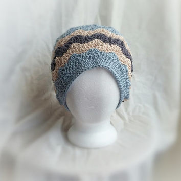 crochet slouch hat spring chevron cotton and silk cloche hat shell fan pattern blue cream and grey