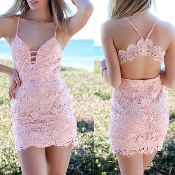 Sexy Lace Sleeveless V-Neck Dress
