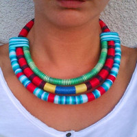 Mary Rope statement necklace Bib necklace OOAK Necklace Ethnic necklace African necklace African woman Massai Necklace Tribal Necklace