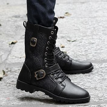 High Quality Male Fashion Retro Punk Combat boots Winter England-style Casual shoes Men's mid-calf boot white Black size 39-44